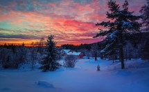 Winter Evening Sunset Sky Clouds Snow Forest House