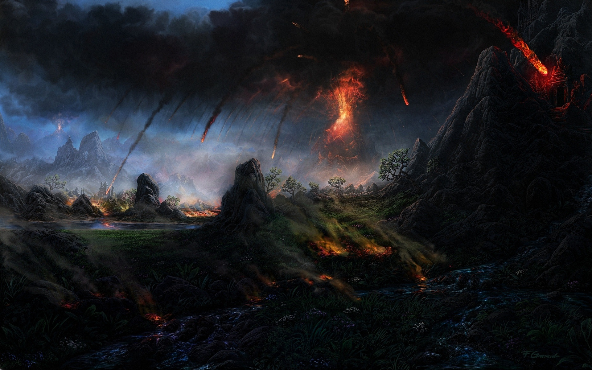 Art Painting Volcano Lava Trees Mountain Smoke
