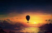 Sunset sky, hot air balloon, art design wallpaper ...