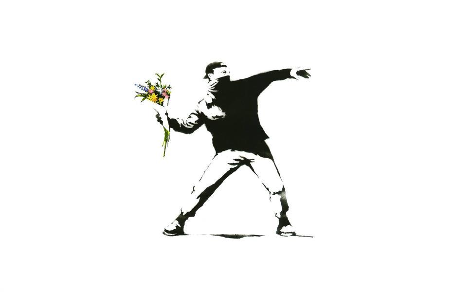 Minimalism, White Background, Artwork, Banksy, Graffiti
