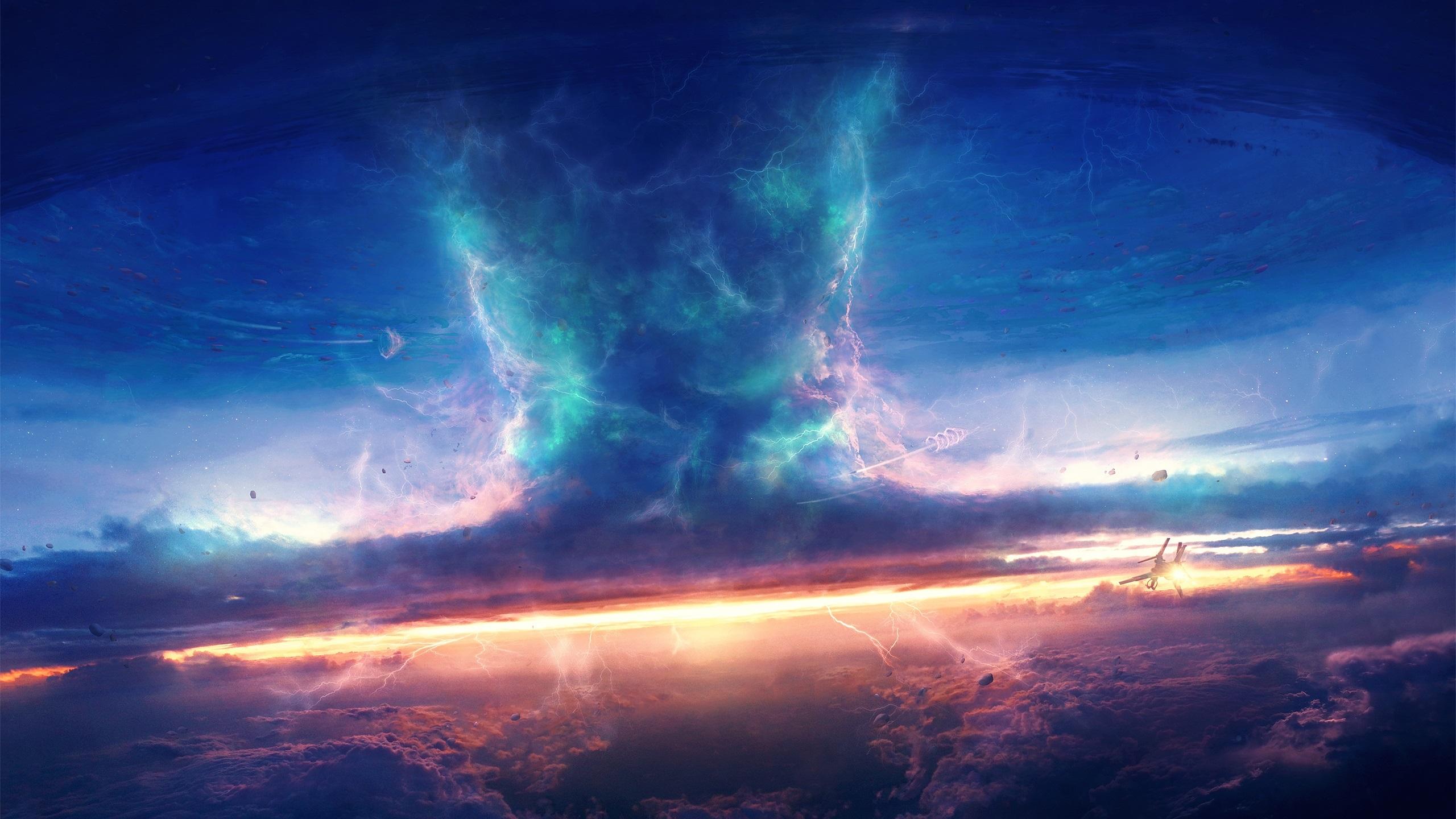 Storm, sky, clouds, spaceship, tornado, art design