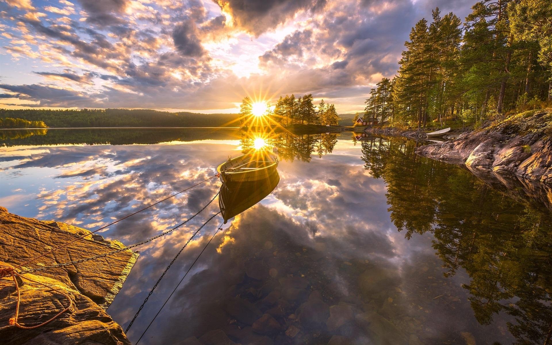 Beautiful Fall Wallpapers For Desktop Ringerike Norway Beautiful Sunset Lake Water