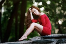 Women Long Hair Sitting Red Dress Rock Bokeh Bare