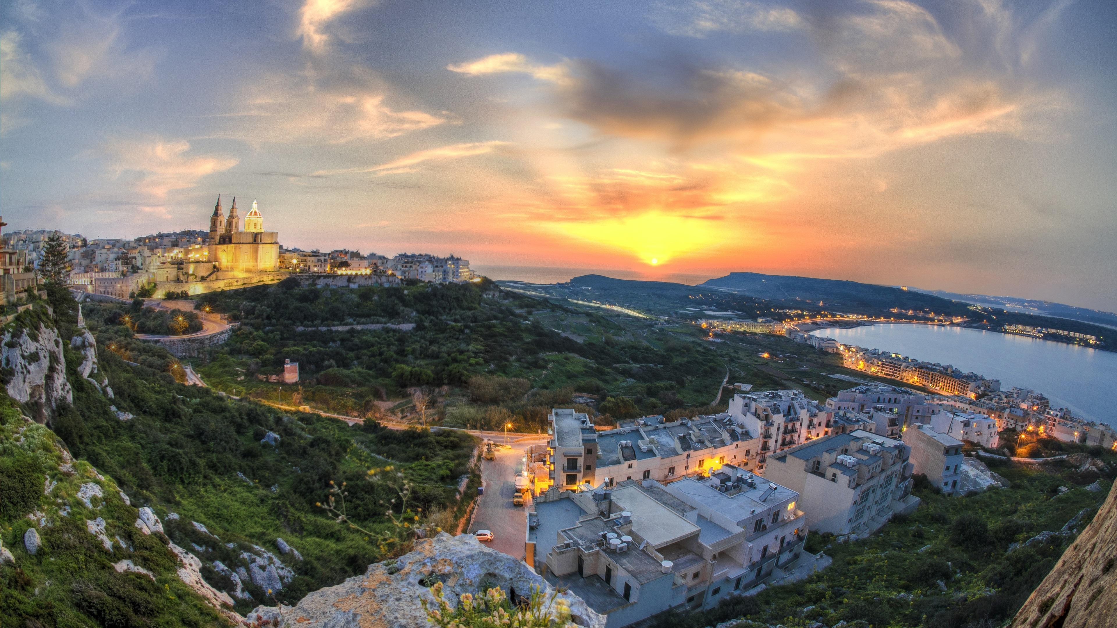 Full Size Hd Wallpaper 1080p Beautiful Island Of Malta At Sunset Red Sky Coast