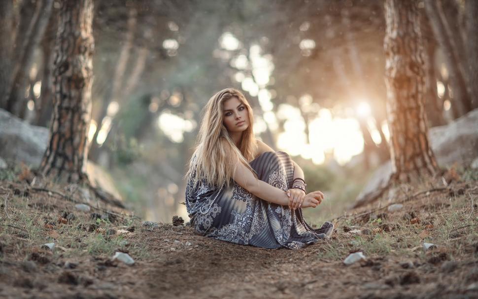 Anime Asian Jungle Girl Wallpaper Girl Sitting On The Ground Forest Sunrise Wallpaper