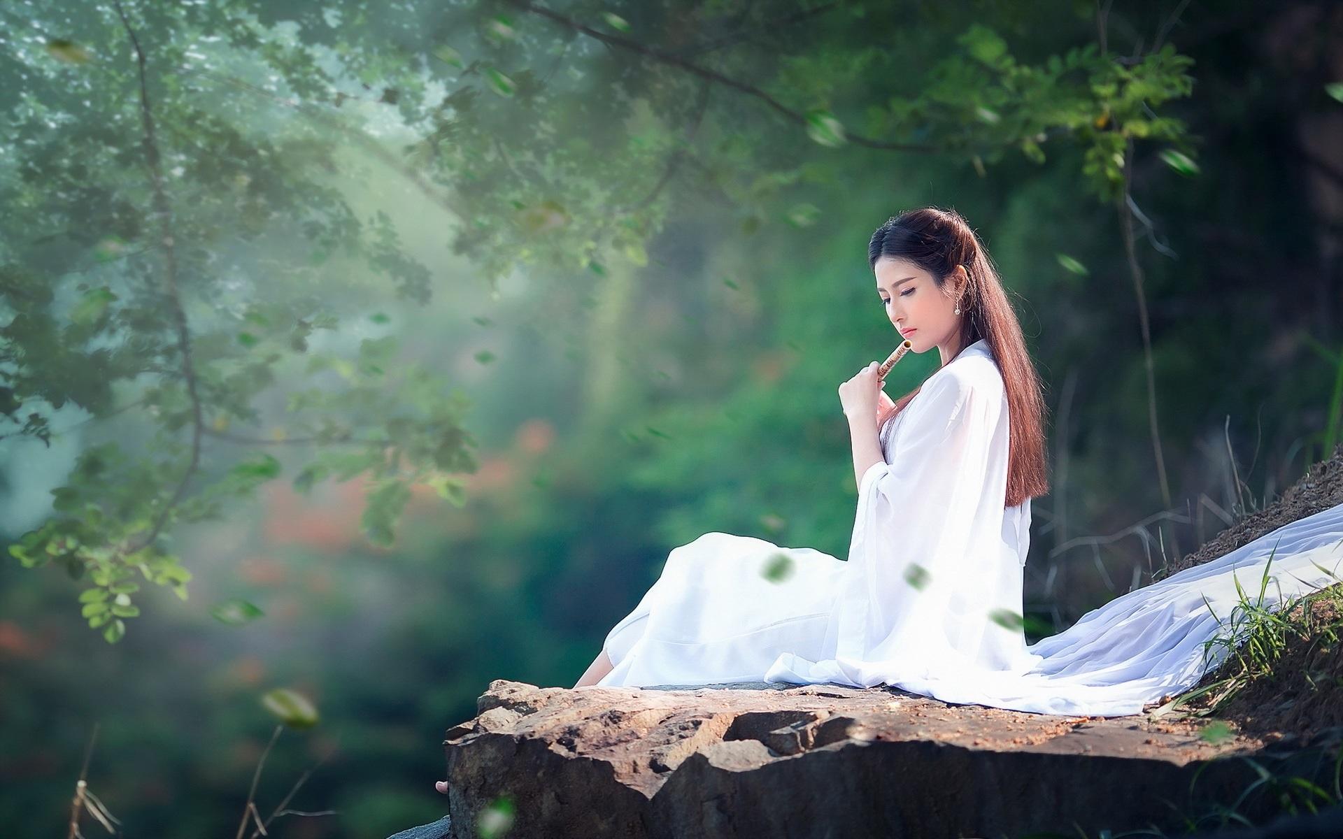 Happy Holidays Anime Girl Wallpaper 1920x1080 Long Hair Girl White Dress Music Flute Wallpaper