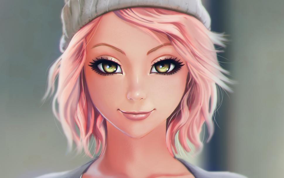Cute Anime Pink Hair Neko Wallpaper Hd Beautiful Pink Haired Fantasy Girl Smile Hat Wallpaper