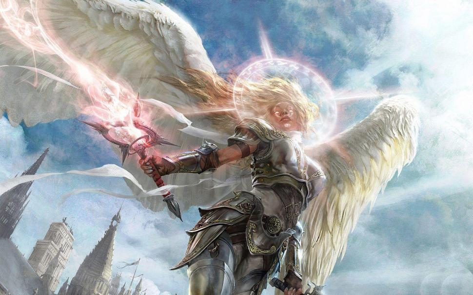 armored angel in battle