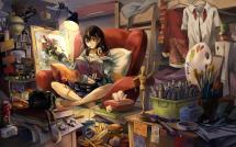Girl Reading Painting Wallpaper Anime