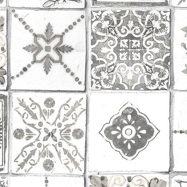 spanish tile white grey wallpaper