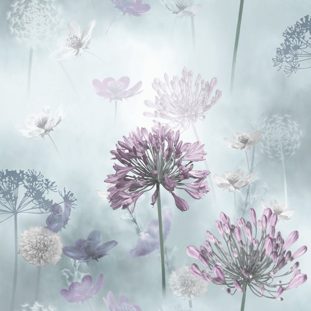 Arthouse Floral Spring Meadow Duck Egg And Lilac Wallpaper