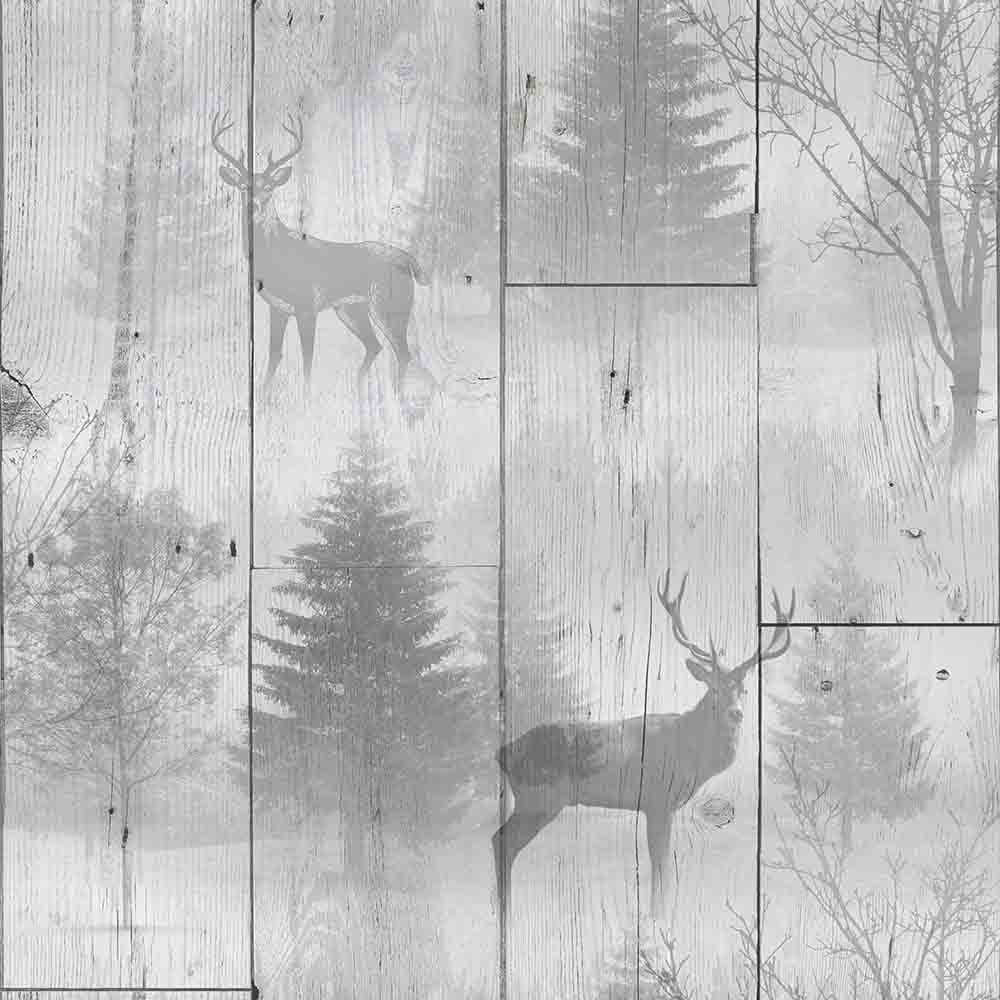 Graham Amp Brown Highland Forest Wooden Plank Stag Wallpaper