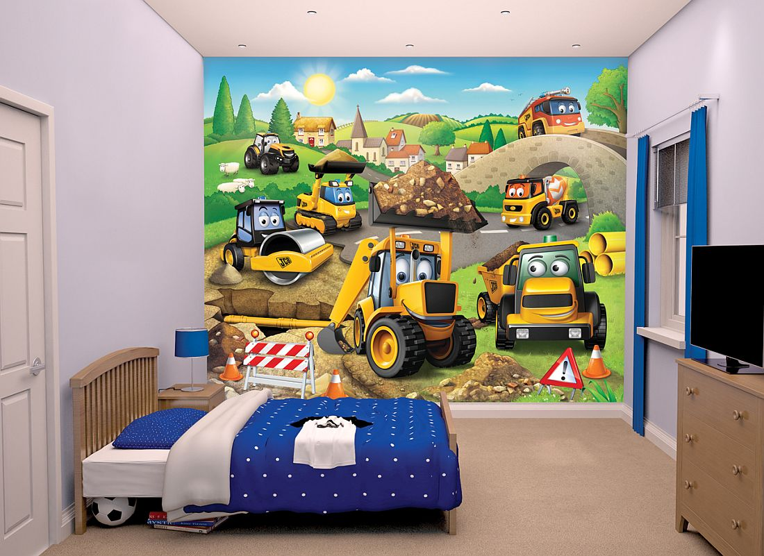 My First JCB Mural by Walltastic  Multicoloured