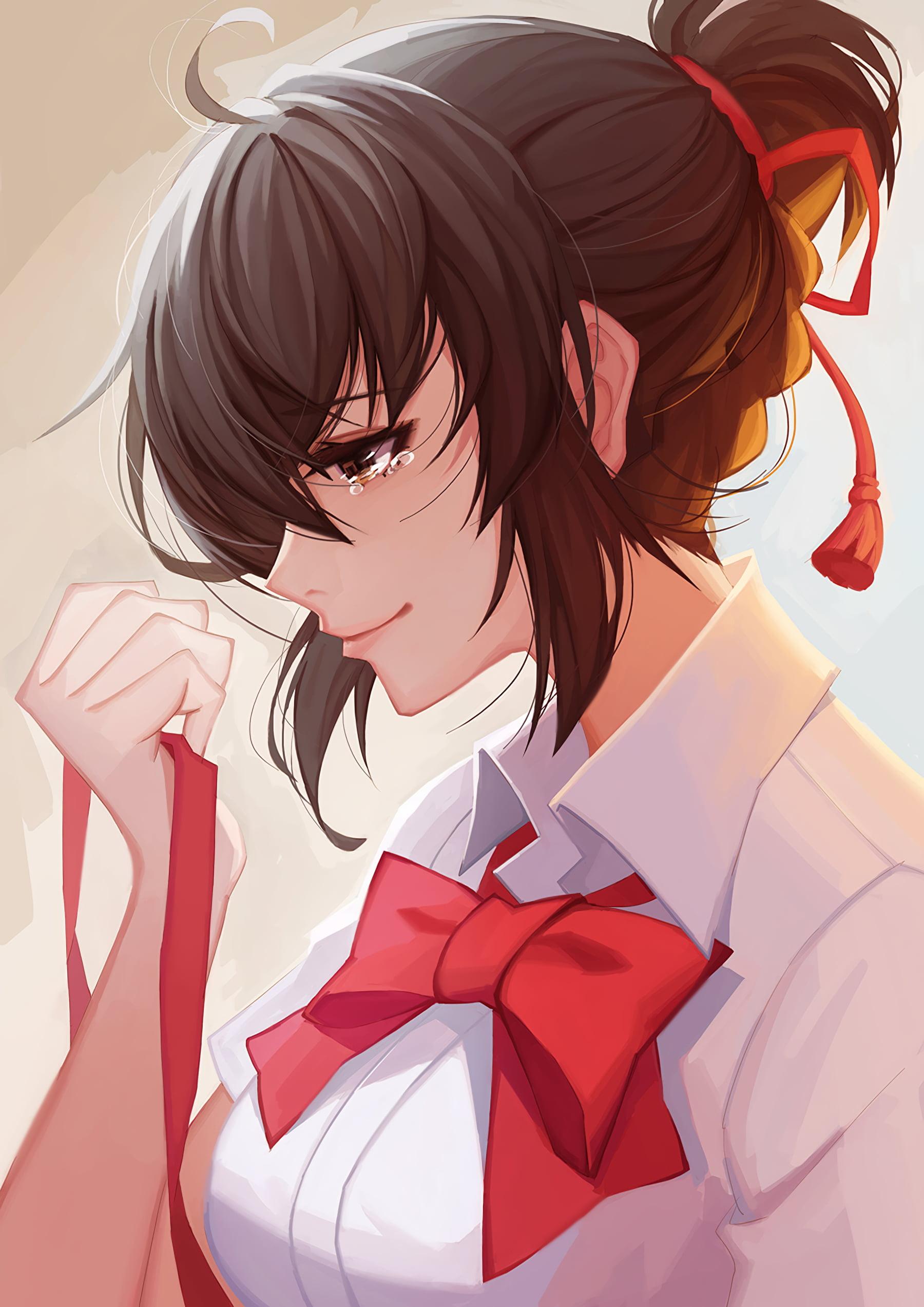 anime woman wearing white