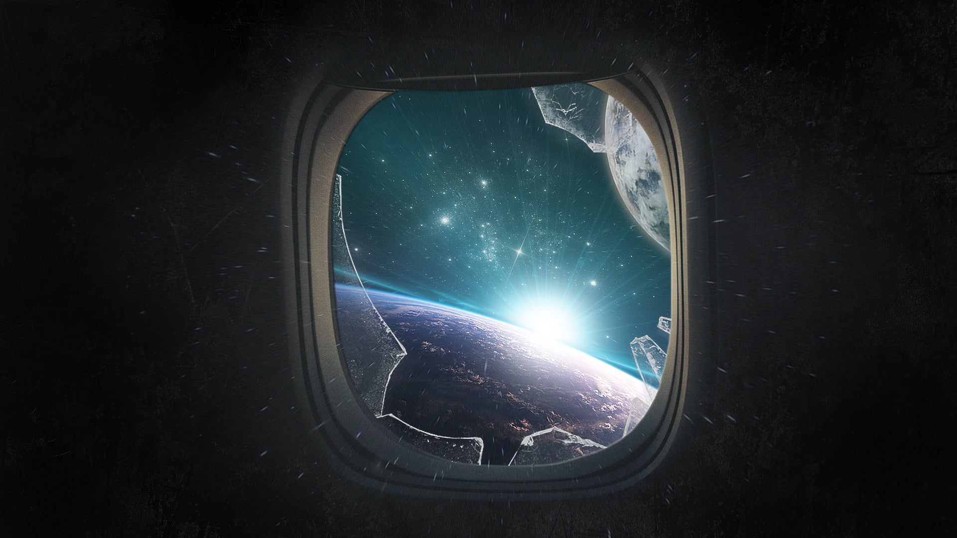 Broken Iphone X Wallpaper Broken Plane Window With Universe Graphic Wallpaper Hd