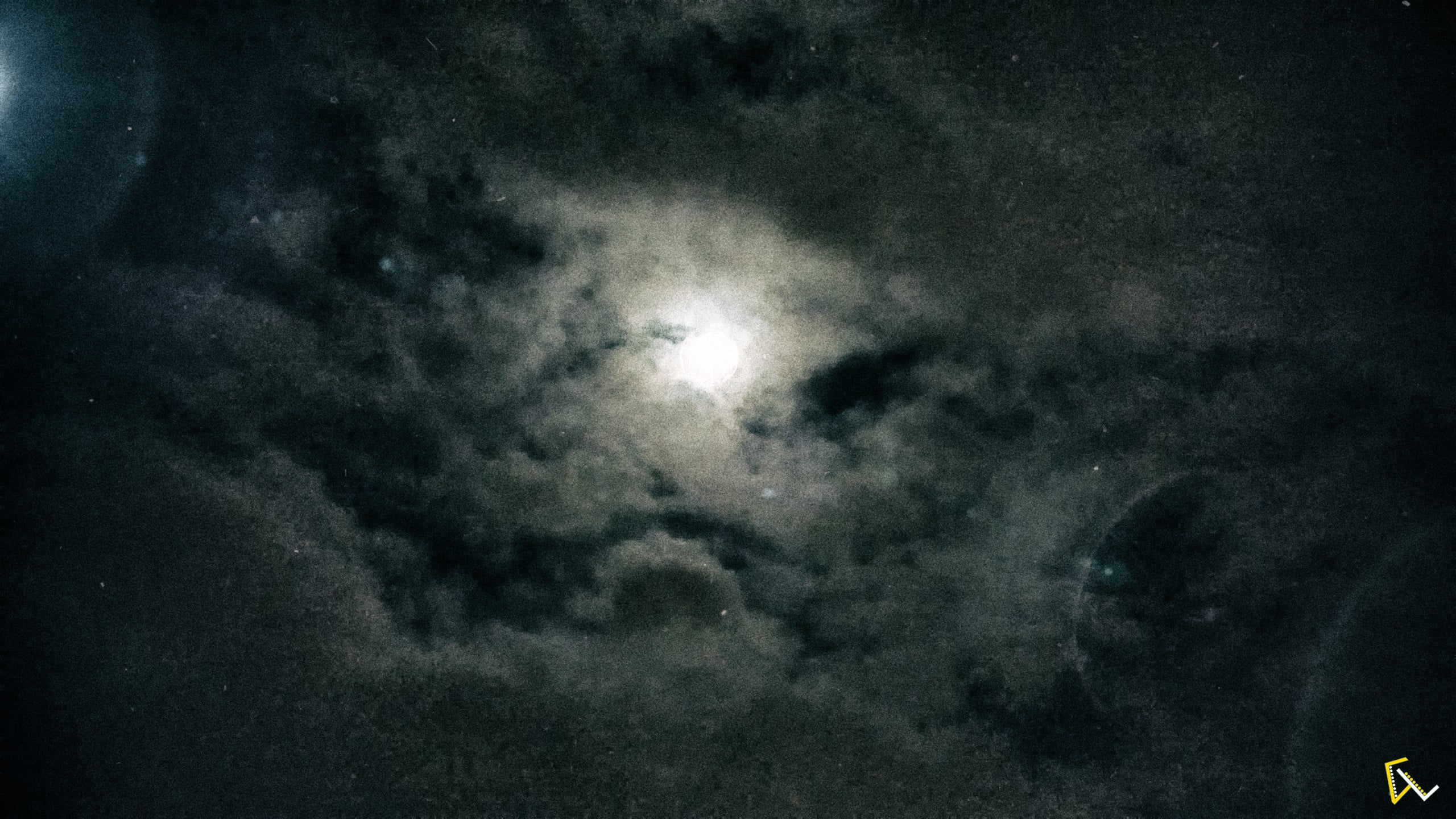 white clouds moon night