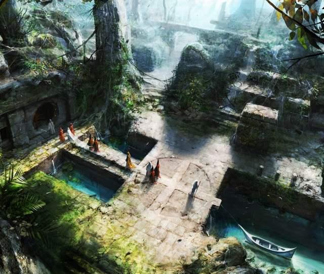 Top View Of Ancient Temple Jungle Artwork Digital Art Fantasy Art Hd