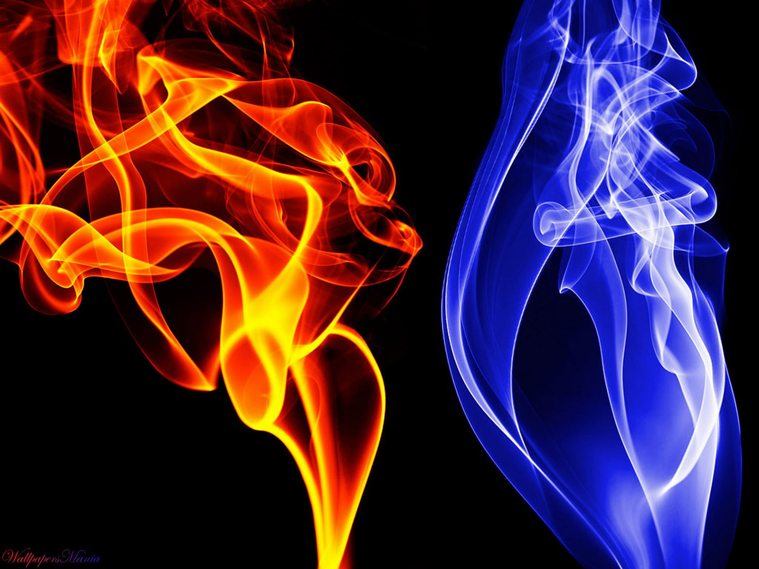 red flame and blue