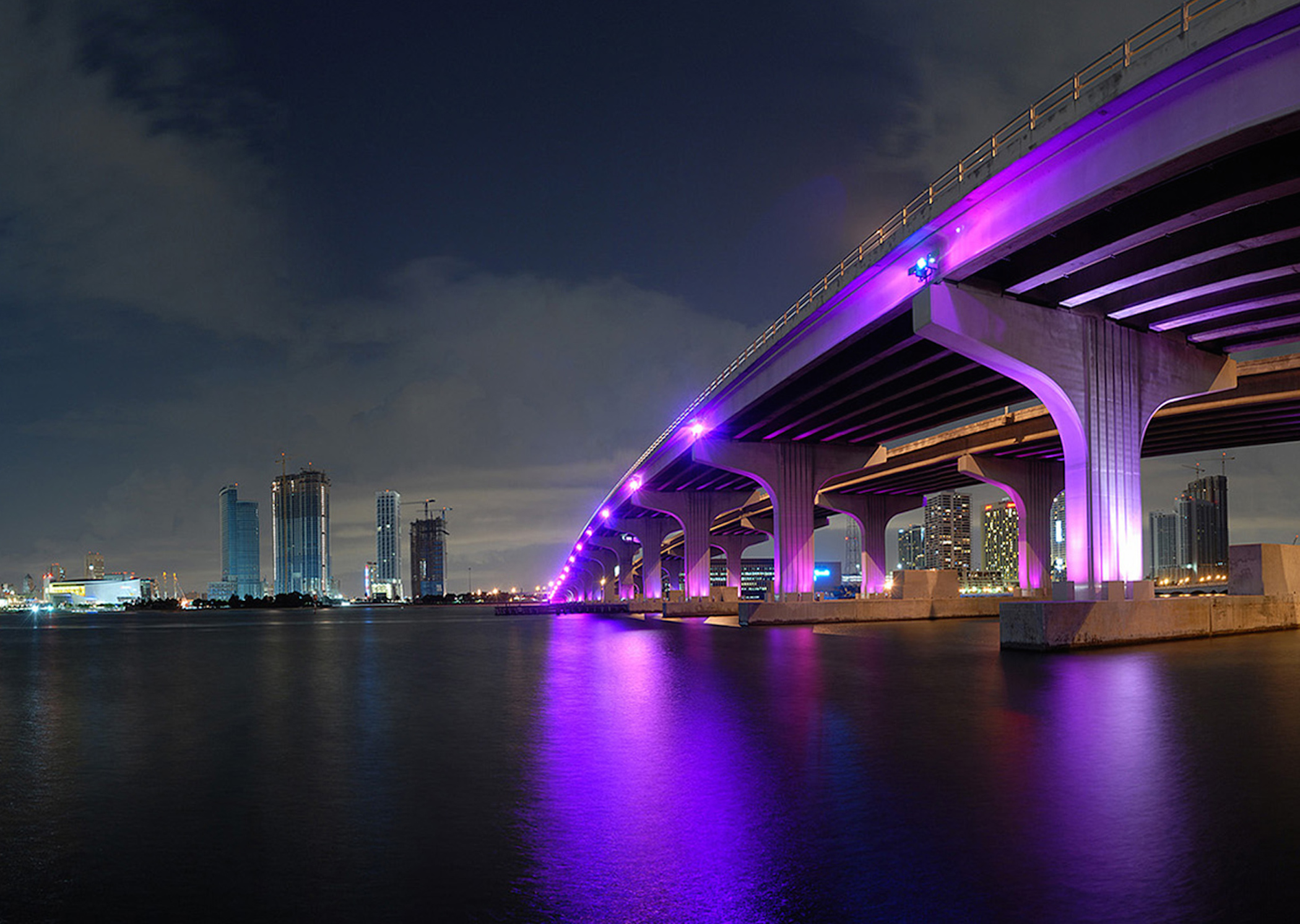 Nighttime Miami Fl Skyline Wallpaper Free Downloads
