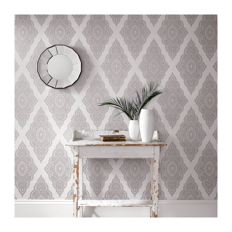 Jewel White Wallpaper Julien Macdonald Silver White