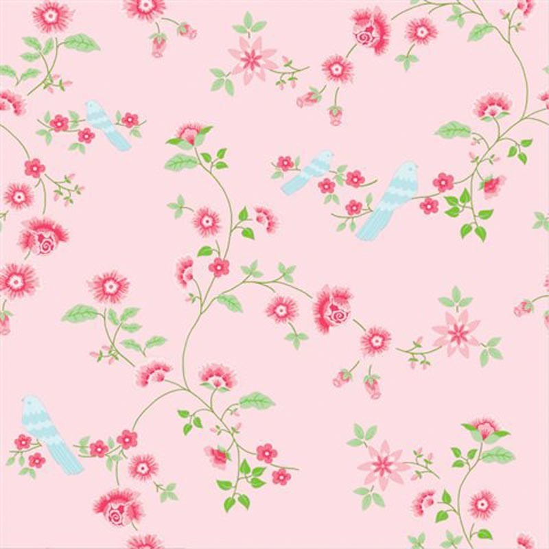 Girl Room Wallpaper And Fablic With Animal Bird Branches Pink 2000111