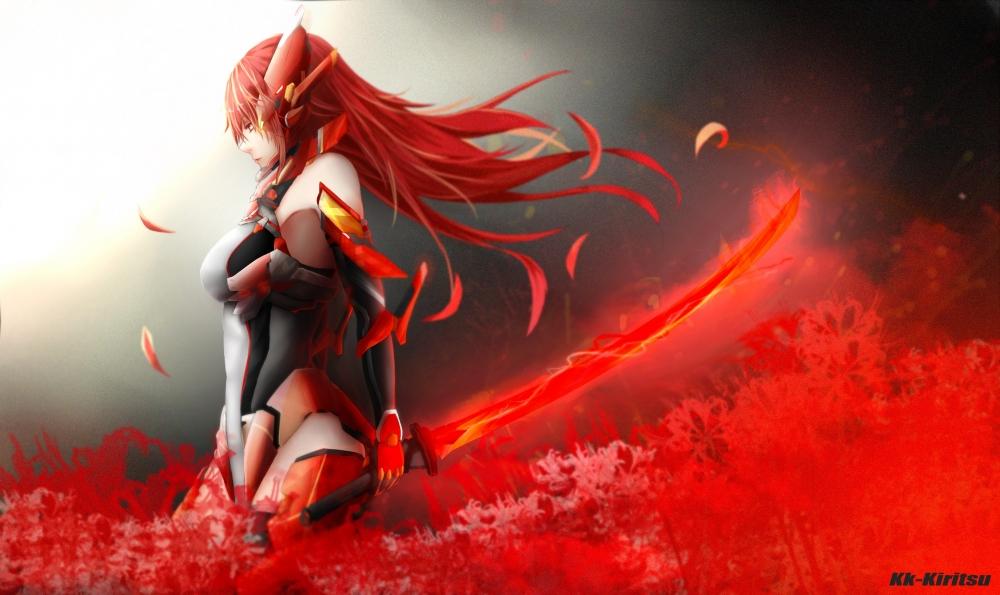 Iphone X Live Wallpaper Download Gif Wallpaper Anime Girl Redhead Bodysuit Fiery Sword Sci