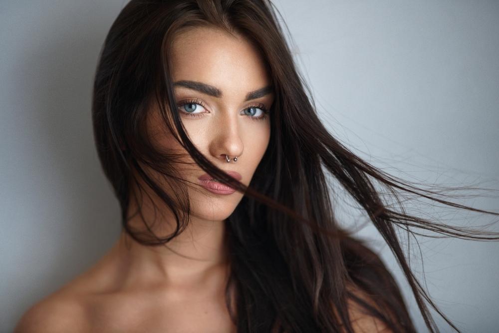 Dota 2 Girls Wallpaper Wallpaper Brunette Nose Ring Model Face Portrait