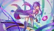 wallpaper anime girl purple hair