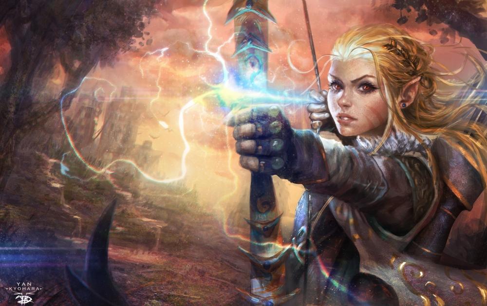 Epic Animal Wallpapers Download 2048x1536 Fantasy Girl Archer Blonde Elf Ears