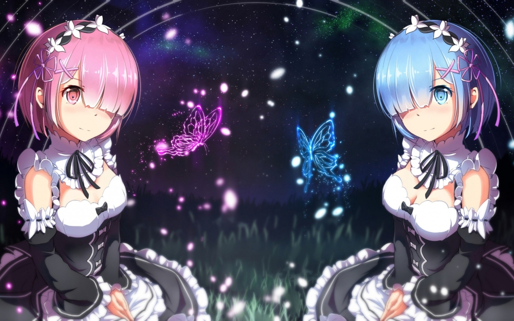 Hd Wallpapers Butterflies Widescreen Wallpaper Re Zero Ram Rem Butterflies Stars Night