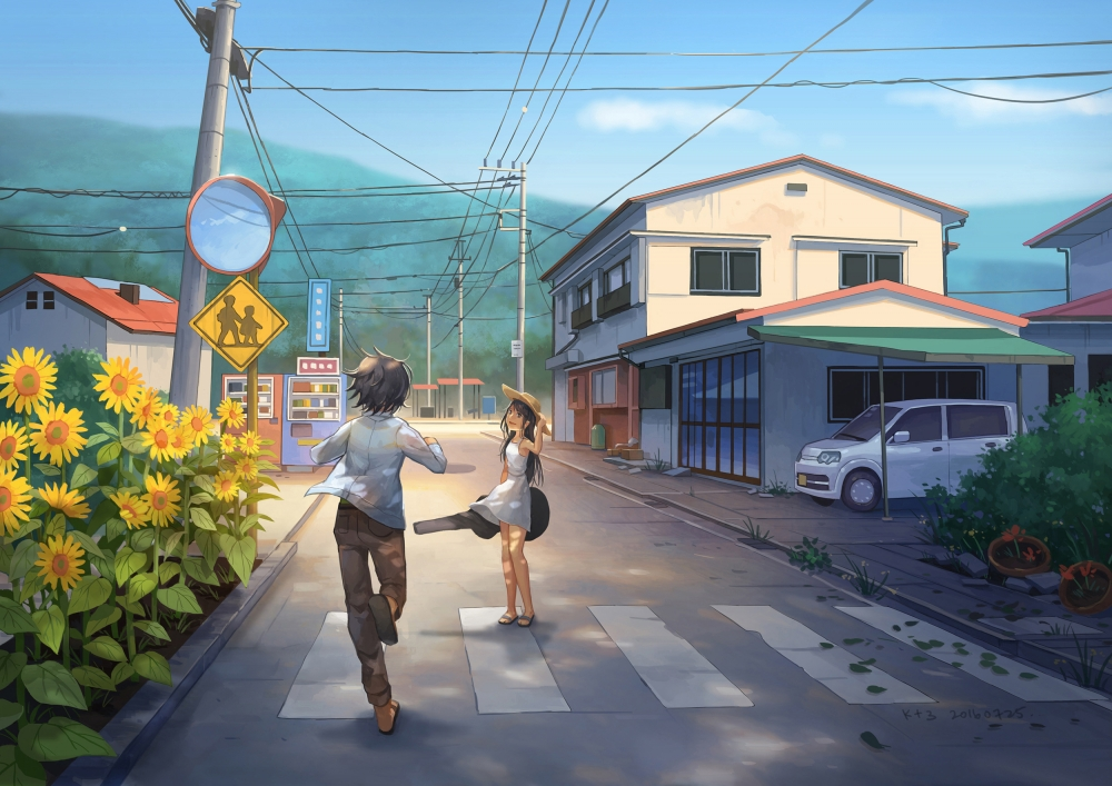 Beautiful Girl With Hat Wallpapers Wallpaper Anime Street Scenic Sunflower Girl And Boy