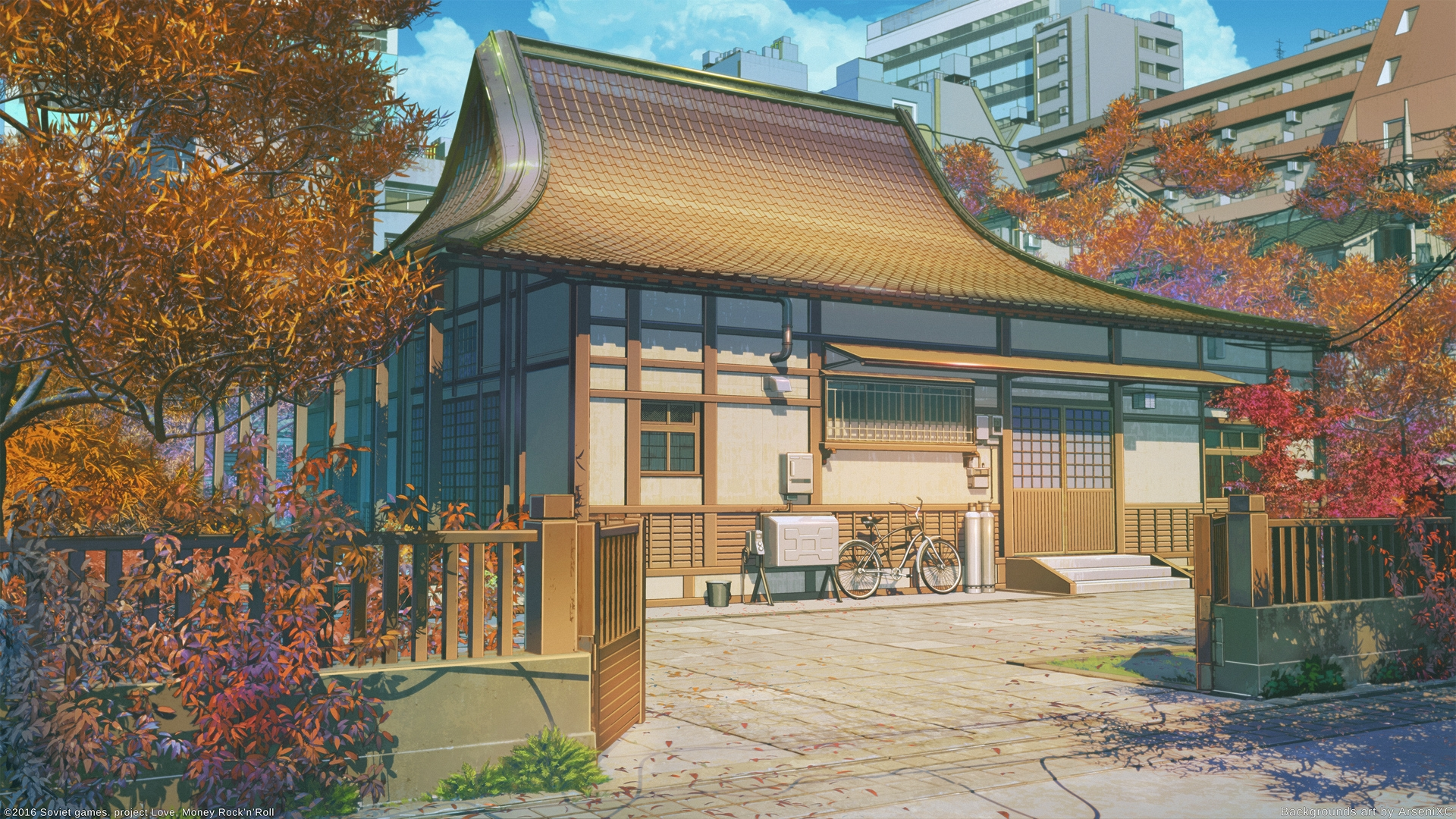 Iphone X Wallpaper Size Perspective Download 1920x1080 Anime Landscape Traditional Building