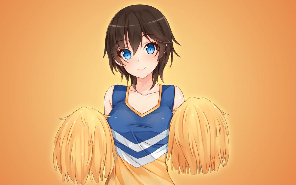 Anime Wallpaper Girls Hair Short Black Eyes Brown Wallpaper Anime Girl Brown Hair Cheer Girl Blue Eyes