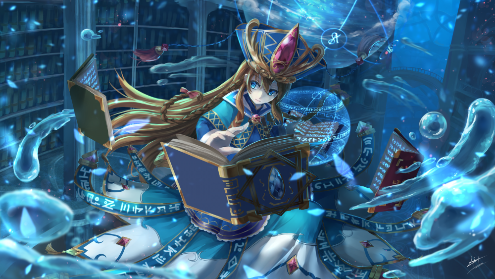 Wallpaper Hd For Tablet 7 Inch Wallpaper Brave Frontier Magic Library Water Drops