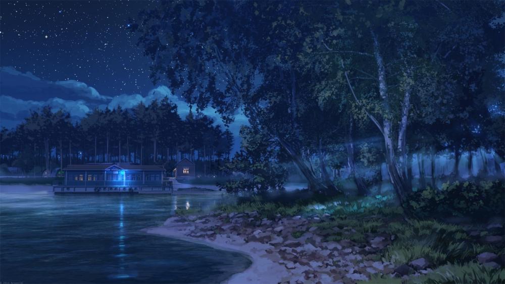 Naruto Wallpaper Hd Iphone 6 Wallpaper Anime Landscape Lake Night Stars Trees