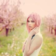 wallpaper model pink hair profile