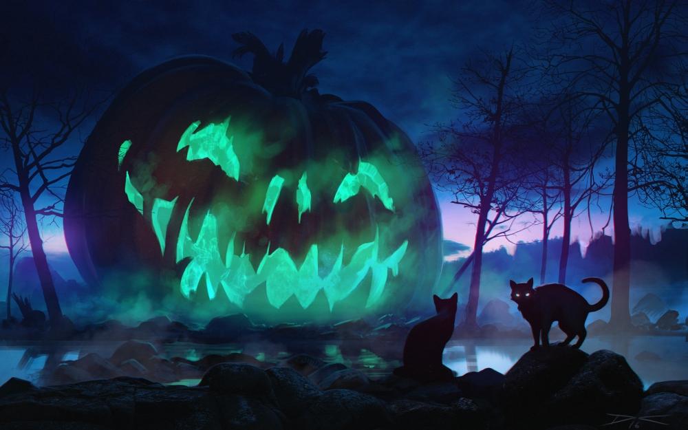 Cute Halloween Iphone 5 Wallpaper Wallpaper Halloween Giant Pumpkin Scary Cats Dark