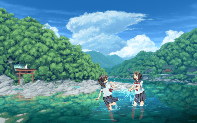 Cute Girly Wallpapers For Iphone 5s Wallpaper Anime Landscape River Girls Shrine Forest