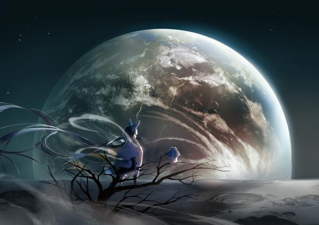 Imac Girl Wallpaper Wallpaper Anime Girl Planet Galaxy Landscape Stars