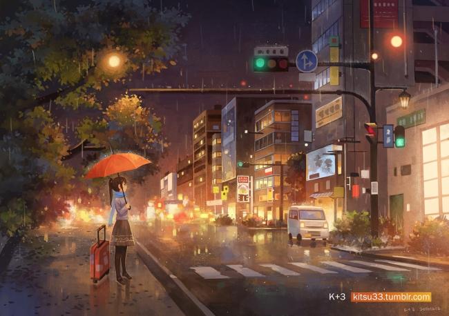 Anime Dj Wallpaper Wallpaper Anime Girl Raining Artwork Night Lights