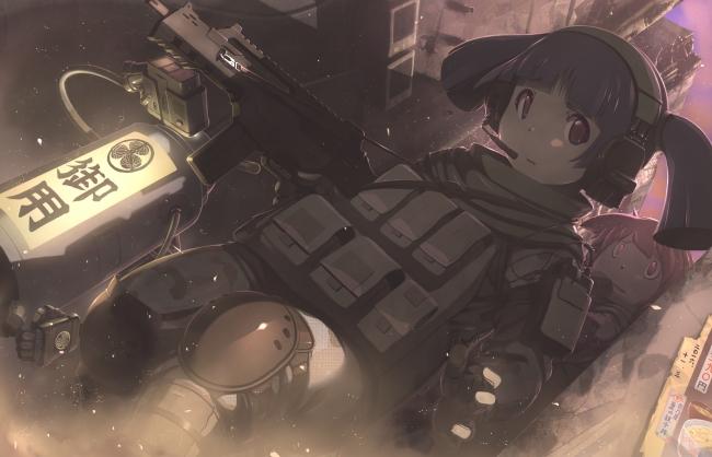 Anime Girls Headphones 1920x1080 Wallpaper Wallpaper Anime Girl Military Soldier Moe Guns Scared