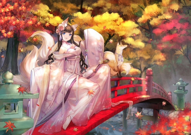 Late Fall Iphone Wallpaper Wallpaper Anime Girl Fox Traditional Clothes Nine Tail