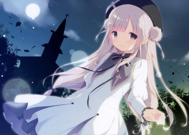Wallpaper Girl Wallpaper Anime Girl Loli White Hair Dress Moon