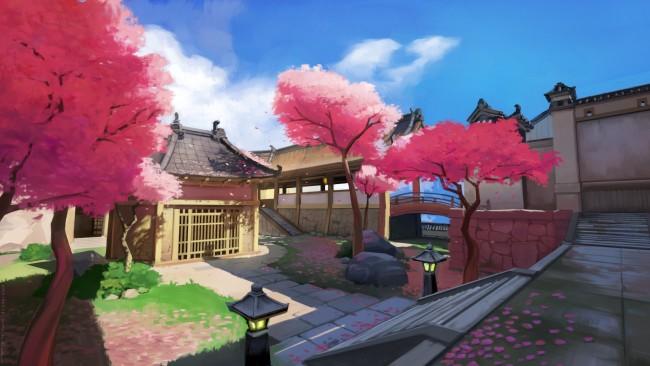 Japanese Girl Anime Wallpaper Wallpaper Hanamura Map Overwatch Traditional Japanese