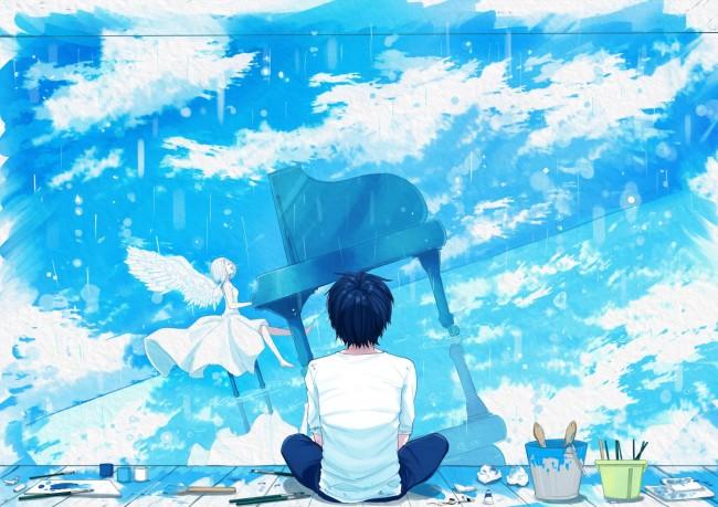 Cute Anime Boy Girl Phone Wallpaper Wallpaper Anime Boy Girl Angel Piano Instrument