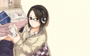 wallpaper anime girl headphones