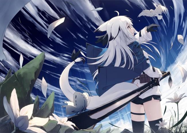 Gunslinger Girl 2 Desktop Wallpaper Wallpaper Anime Fox Girl White Hair Animal Ears Sword