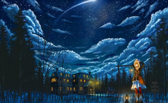 Iphone 4s Anime Wallpaper Wallpaper Anime Girl Night House Clouds Stars Sky