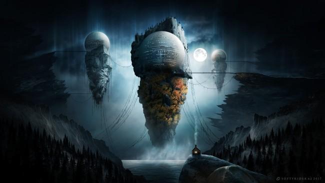 Iphone 5 Wallpaper Hd Retina Display Wallpaper Floating Islands Sci Fi Fantasy World Moon