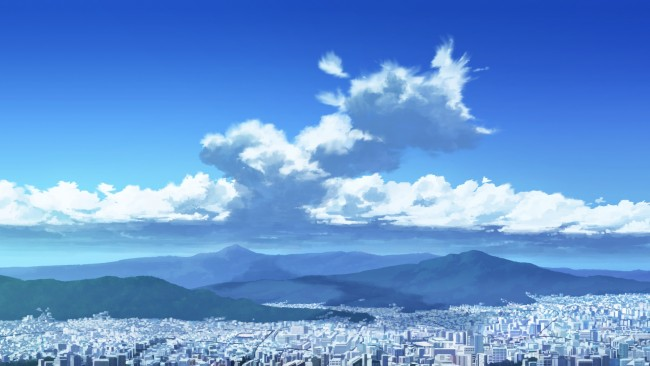 High Res Anime Wallpaper Wallpaper Anime Cityscape Clouds Sky Buildings